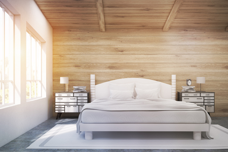 bedside tables: Front view of a double bed in a room with wooden walls and ceiling. There are two bedside tables and two large windows. 3d rendering. Mock up. Toned image