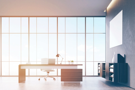 ceo office: Front view of a sunlit CEO office with wooden furniture, panoramic window and a horizontal poster on a gray wall. 3d rendering. Mock up. Toned image