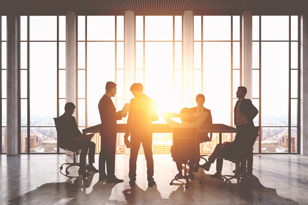 Meeting room. Group of businessmen around a table discussing work issues. Sunlight. 3d rendering. Toned image.