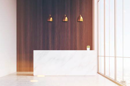 standing reception: White reception table with a paper coffee cup standing in a hall of office with a conference room. Dark wooden panel. 3d rendering. Mock up. Toned image