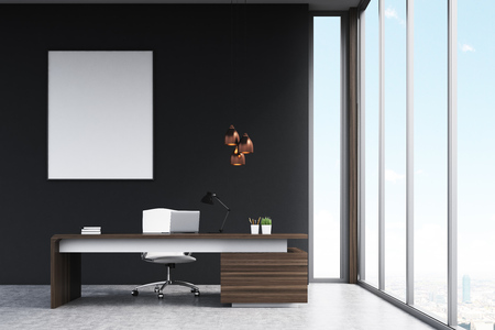 3d manager: Office of a high rank manager with a large wooden table, a computer and a white chair. Panoramic window and a vertical poster on a black wall. 3d rendering. Mock up.