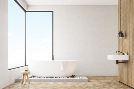 skylight: Bathroom interior with a wooden wall, white bathtub with a towel and panoramic windows. 3d rendering. Mock up. Stock Photo