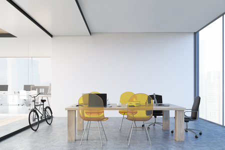 office space: Wooden table with yellow transparent chairs and a glass wall. Panoramic window. Large open office space is to the left of it. 3d rendering.