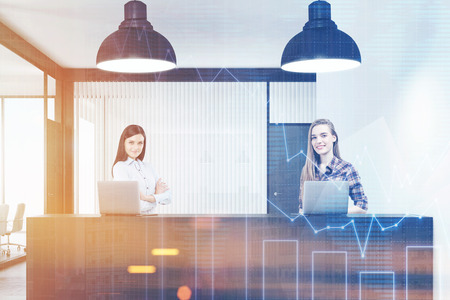 Two young women standing at a reception counter. There are two large lamps and two laptops on the desk. 3d rendering. Mock up. Toned image. Double exposure Stock Photo