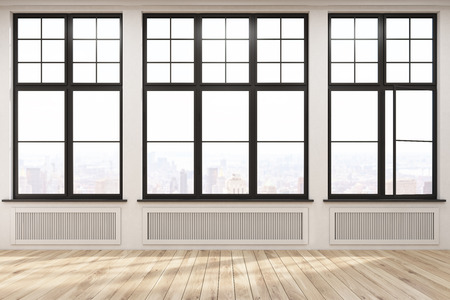 large: Empty room with three large windows in a beige wall. Wooden floor. Heating. Concept of a comfortable house. 3d rendering.