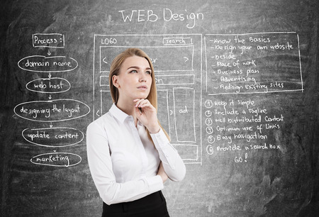 Thoughtful businesswoman wearing a white blouse is standing near a blackboard with web design schemes on it. Imagens