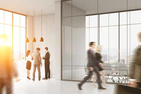 standing reception: People walking and standing in a busy office of a large company. There is a reception counter in the corner and a meeting room with glass walls. 3d rendering. Mock up. Toned image