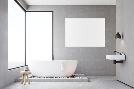 skylight: Bathroom interior with concrete walls, panoramic windows and large vertical poster. Concept of relaxation. 3d rendering. Mock up Stock Photo