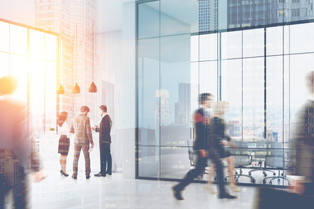 standing reception: People walking and standing in a busy office of a large company. There is a reception counter in the corner and a meeting room with glass walls. 3d rendering. Mock up. Toned image. Double exposure