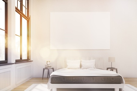 bed room: Front view of a master bedroom with a bed, two bedside tables and a large horizontal poster hanging on a white wall. Large windows. 3d rendering. Mock up. Toned image. Toned image Stock Photo