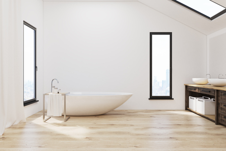 attic: Interior of a bathroom in the attic with narrow windows in walls and roof, white tub and walls and two sinks. 3d rendering. Mock up. Stock Photo