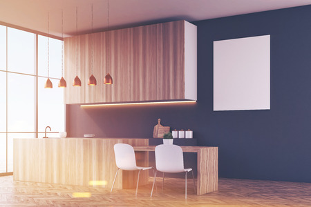 comfort food: Side view of a kitchen with black walls, wooden furniture and white chairs near a dining table. There is a poster and large windows. 3d rendering. Mock up. Toned image Stock Photo