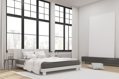 master bedroom: Corner of a master bedroom with a bed, a set of drawers and a large vertical poster standing on it. Large windows. 3d rendering. Mock up.