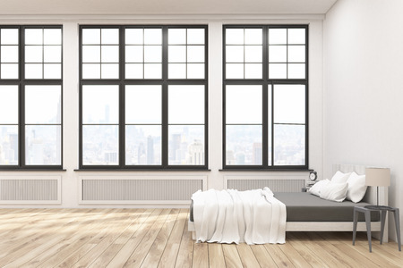 master bedroom: Side view of a master bedroom with a bed, two bedside tables and three large windows in a white wall. 3d rendering. Mock up.