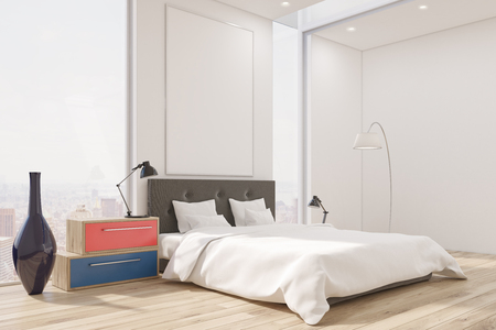 master bedroom: Corner of a master bedroom with a bed, a set of drawers, a tall vase and a large vertical poster. Large windows. 3d rendering. Mock up. Stock Photo