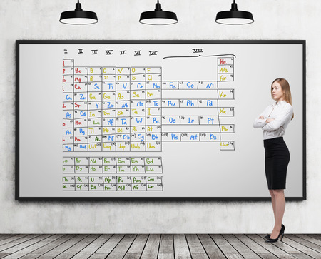 mendeleev: Blond woman is standing with her arms crossed near a whiteboard with a colorful Mendeleev periodic table. Concept of chemistry. 3d rendering