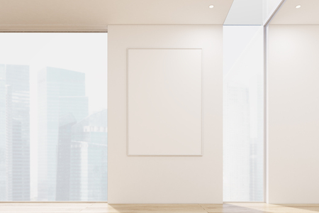 between: Close up of a vertical poster hanging on a white office or apartment wall between two tall windows. 3d rendering. Mock up. Toned image Stock Photo
