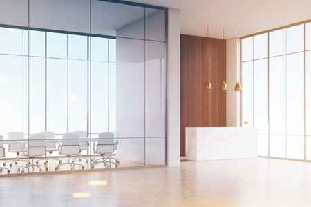 standing reception: Corner of office. White reception table with a paper cup of coffee standing in a hall. Conference room. Glass and wooden wall. 3d rendering. Mock up. Toned image