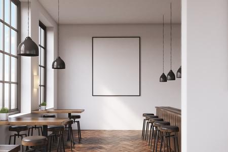 Bar interior con una fila de mesas cerca de las ventanas, una barra con taburetes en la parte derecha de la habitación y un cartel vertical, enmarcado en una pared blanca. Representación 3D. Bosquejo.