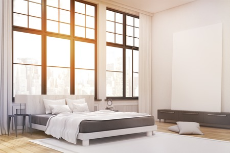 master bedroom: Corner of a master bedroom with a bed, a set of drawers and a large vertical poster standing on it. Large windows. 3d rendering. Mock up. Toned image