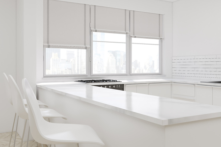 aisle: Corner of a white kitchen with an aisle, three stools, an oven, large windows with blinds. Countertops. 3d rendering. Mock up. Stock Photo
