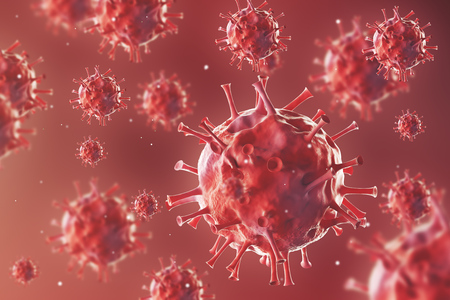 biomolecules: Close up of roundish viruses against red background. Concept of medical and chemical research. 3d rendering
