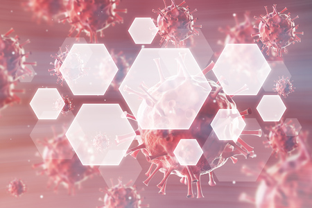 biomolecules: Close up of roundish viruses against red background. Concept of medical and chemical research. 3d rendering. Toned image. Double exposure Stock Photo
