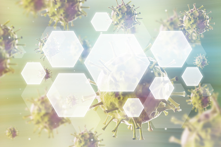 biomolecules: Close up of roundish viruses against green background. Concept of medical and chemical research. 3d rendering. Toned image. Double exposure.