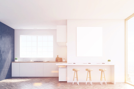 countertop: Kitchen with a window, countertops, a table and three stools. Black and white walls. Concept of a comfortable home. 3d rendering. Mock up. Toned image