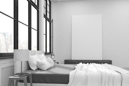master bedroom: Master bedroom with a bed, a set of drawers and a large vertical poster standing on it. Large windows. 3d rendering. Mock up.