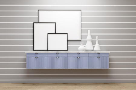 stipes: Gallery with blue set of drawers and vases standing on it. There are three posters on a gray wall with white stipes. 3d rendering. Mock up.