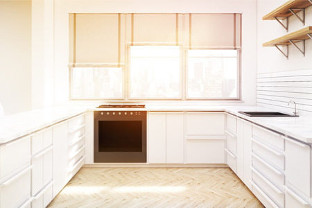 countertop: Kitchen interior with white furniture, wooden shelves on the wall, countertops, an oven and windows with shades. 3d rendering. Mock up. Toned image