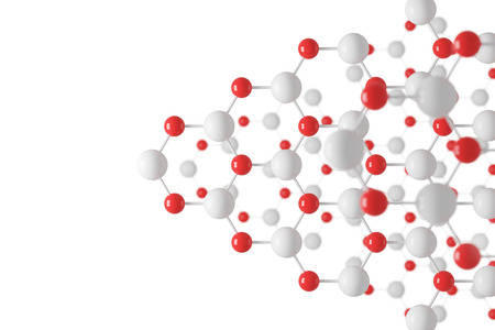 White and red atom grid with hexagonal structure against a white wall. Concept of chemistry and science.