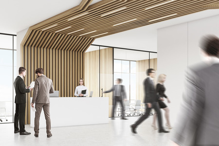 lowering: People in room with reception counter with two laptops. Meeting room with glass walls behind it. Brown pipes are lowering from the ceiling. 3d rendering. Mock up. Stock Photo