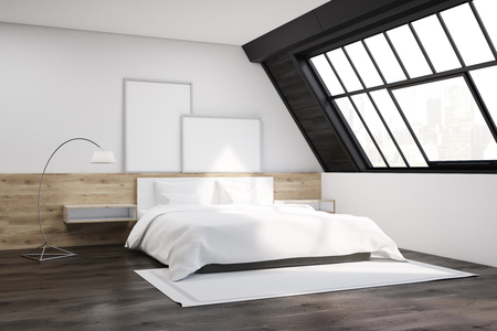attic window: Attic bedroom interior with a window, a carpet, a bed and two posters standing on a wooden shelf above it. 3d rendering. Mock up.