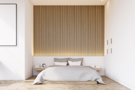Front view of a bedroom with a wooden wall and floor. There is a bedside table and a framed vertical poster on a wall. 3d rendering. Mock up.