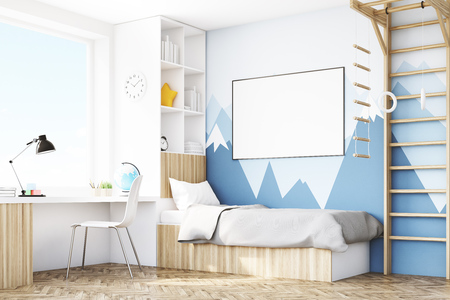 Corner of a kid's room with a bed, a bookcase and a table standing under a window. There is a ladder for physical activities to the right. 3d rendering. Mock up.