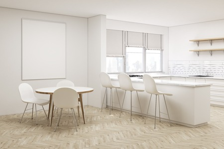 round table: Corner of white kitchen with a round table, a vertical poster above it and an aisle with stools. Shelves and windows with shades. 3d rendering. Mock up.