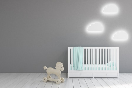 Baby's room interior with a crib, cloud shaped lamps and a toy horse. Gray walls. Concept of minimalism. 3d rendering. Mock up.