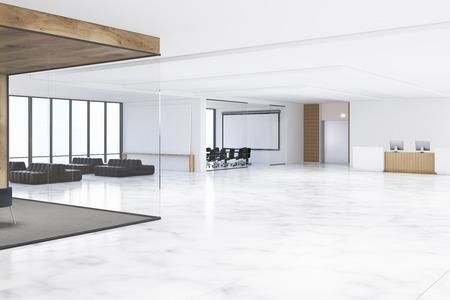 화이트 보드가있는 사무실 홀, 검은 색 소파가있는 대기 공간 및 리셉션 카운터. 3d 렌더링입니다. 모크 업.
