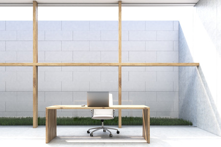 lawn chair: Front view of a CEO office with large glass and wooden wall. Sky is seen through the opening in the roof. Desk with a laptop and a chair. 3d rendering. Mock up.
