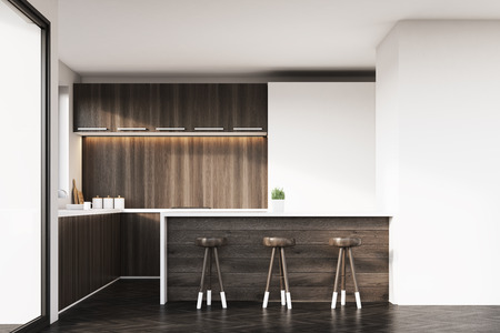 kitchen studio: Kitchen interior with dark wooden furniture, white cupboards, a counter and three stools. Large white wall segment in the corner. 3d rendering. Mock up. Stock Photo