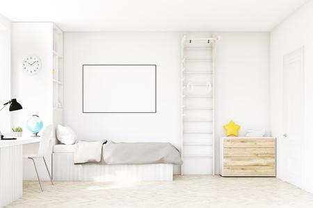 Chambre d'enfant avec un lit avec un couvre-lit gris, une fenêtre carrée, une table et une bibliothèque. Il y a une échelle avec des anneaux dans le coin. Rendu 3D. Maquette. Banque d'images - 71425902