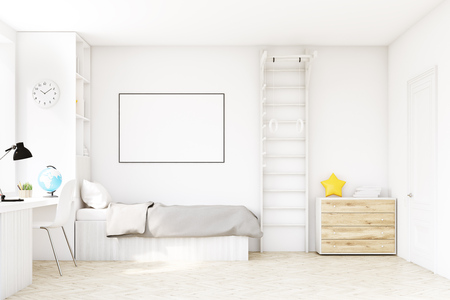Child room with a bed with gray bedspread, a square window, a table and a bookcase. There is a ladder with rings in the corner. 3d rendering. Mock up. Foto de archivo