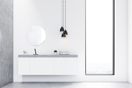 Front view of a bathroom sink, a round mirror and a window. There is a gray wall on the left. Concept of modern luxury interior. 3d rendering. Mock up.