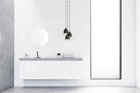 Vista frontale di un lavandino del bagno, uno specchio rotondo e una finestra. C'è una parete grigia sulla sinistra. Il concetto di lusso moderno. rendering 3d. Modello.