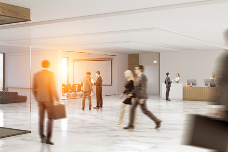Business people rushing through an office hall with marble floor, a reception counter, a large whiteboard hanging in a conference room. 3d rendering. Toned image.