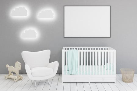 Kid�s room with a crib, a white armchair, a horse toy and cloud shaped lamps. A large framed poster is hanging on a gray wall. 3d rendering. Mock up.