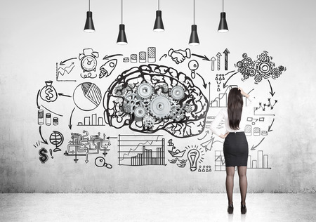 Rear view of a business woman looking at a brain drawing with gears surrounded by a start up sketch. 3d rendering.