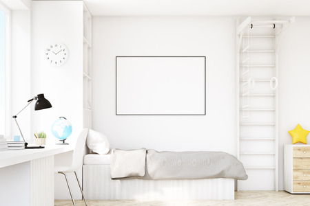 Close up of a child room with a bed with gray bedspread, a square window, a table and a bookcase. There is a ladder with rings in the corner. 3d rendering. Mock up.